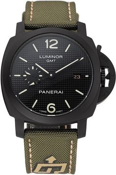 Men's Replica Panerai Luminor 1950 3 Days GMT Black Dial Ion-plated Bezel Watch With Green Fabric Strap With Beige Thread Stitching
