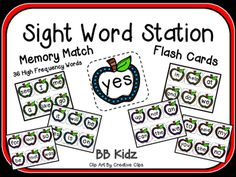 Here are some common 36 sight words used in Kindergarten.  Put them on a ring and use them as flash cards. By BB Kidz