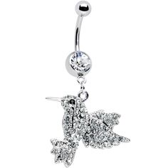 Crystalline Gem Humming Bird Belly Ring $8.99 #piercing #bodycandy