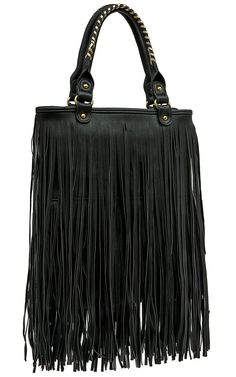 nuG Black Long Fringe Handbag