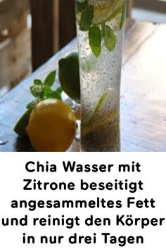 Chia Wasser mit Zitrone beseitigt angesammeltes Fett und reinigt den Körper in … Chia water with lemon eliminates accumulated fat and cleanses the body in just three days Health And Nutrition, Health And Wellness, Health Tips, Health Fitness, Lemon Benefits, Coconut Health Benefits, Healthy Drinks, Detox Drinks, Eco Slim