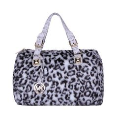 Michael Kors Outlet Fur Leopard Hair Large Grey Satchels