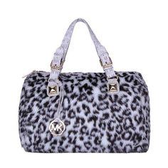 Michael Kors Outlet Fur Leopard Hair Large Grey Satchels