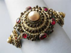 A natural garnet and pearl Austro Hungarian bracelet from the Victorian era.