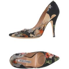 Acne Studios Pump ($246) ❤ liked on Polyvore featuring shoes, pumps, black, flower print shoes, floral pumps, rubber sole shoes, black floral pumps and black shoes