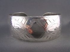 WIDE Sterling Vtg Hand Etched CUFF Bangle for Personalizing Initials~ GREAT GIFT