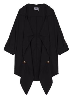 Sale 21% (29.69$) - Loose Women Lapel Button Pocket Irregular Thin Trench Coat Jacket