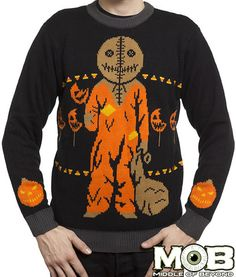 Product in Stock Ships in Days Officially licensed Trick r Treat sweater. This sweater is made of acrylic. Black, brown, orange, white, and gold in color. All sales are final. No returns or exchanges*** Size Chart Ugly Sweater, Ugly Christmas Sweater, Sam Trick R Treat, Halloween Queen, Best Horror Movies, Halloween Prints, Halloween Stuff, Halloween Fashion, Unisex