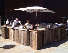reclaimed wood bars and kiosks