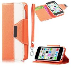 myLife Bittersweet Orange + Plain White {Modern Design} Faux Leather (Card, Cash and ID Holder + Magnetic Closing + Hand Strap) Slim Wallet ...