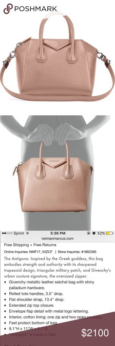 Givenchy small Antigona satchel in Champagne  Givenchy small Antigona satchel in Champagne (metallic rose gold) | purchased from Neiman Marcus | includes dust bag and can show proof of purchase with receipt upon request | 100% authentic | no trades Givenchy Bags Satchels