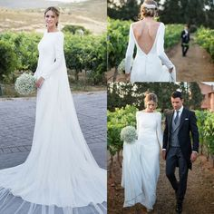 Bateau Neck Long Sleeves Sheath Country Wedding Dresses with V Back Court Train Wedding Gowns with Buttons Custom Made Bridal Dresses - Plain Wedding Dress, Pakistani Wedding Dresses, Classic Wedding Dress, Backless Wedding, Long Sleeve Wedding, Wedding Dress Sleeves, Long Wedding Dresses, Wedding Gowns, Bridesmaid Dresses