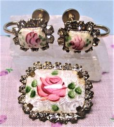 Guilloche Enamel and Rhinestone Brooch and Earring Set Vintage 1940s Rose on White by letsreminisce on Etsy