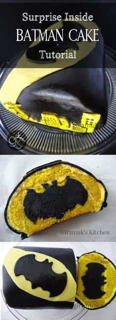 Perfect for the Batman Fan in your family! -a Tutorial for a Batman Surprise Inside Cake