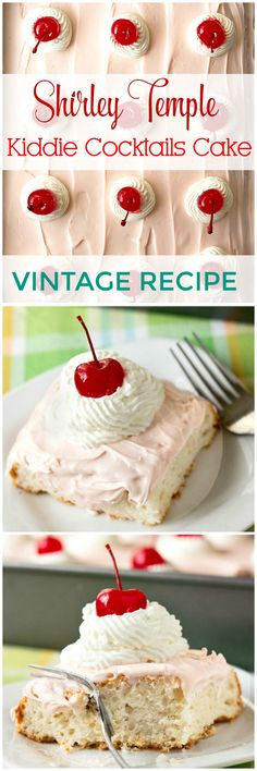 Shirley Temple fans will love this delicious and easy kiddie cocktails cake recipe, based on the popular Shirley Temple kiddie cocktail! Cherry flavored lemon-lime soda marries moist white cake, with fluffy maraschino cherry frosting covering the top. | 2DessertsADay.com