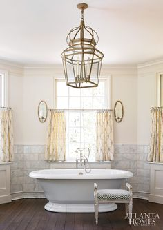 Treatment under windows in bathroom  Design by Liz Williams and Stan Dixon | Photography by Mali Azima, David Christensen, Erica Dines, Emily Followill and Chris Little | Atlanta Homes and Lifestyles |