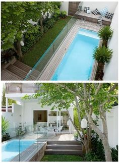 Beautiful pool in limited space Small Swimming Pools, Small Pools, Swimming Pools Backyard, Swimming Pool Designs, Garden Pool, Lap Pools, Backyard Pool Designs, Small Backyard Pools, Outdoor Pool
