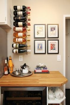 Kitchen Before & After: A Smart Kitchen Renovation Cool Wine Racks, Wine Rack Wall, Wine Wall, Smart Kitchen, Kitchen Rack, Room Kitchen, Kitchen Cabinets, Dining Room, Wine Decor