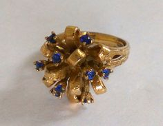 Retro Blue Sapphire Glass Adjustable Ring Size by TrendyTreasures1, $32.00 #Vintage #Etsy #EcoChic