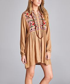Look what I found on #zulily! Khaki Floral-Embroidered Button-Front Tunic - Plus by VELZERA #zulilyfinds