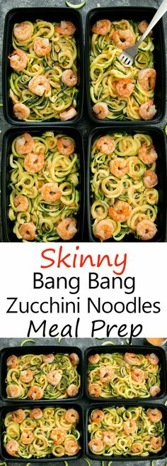 An easy, lightened up version of ba… Skinny Bang Bang Zucchini Noodles Meal Prep. An easy, lightened up version of bang bang pasta that can be made ahead of time for multiple meals during the week. Clean Eating Recipes, Lunch Recipes, Healthy Recipes, Healthy Meals, Dinner Recipes, Eating Clean, Easy Healthy Meal Prep, Superfood Recipes, Dinner Ideas