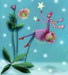 Flower girl by Mila Marquis Marie Cardouat, Art Fantaisiste, Art Carte, Art Et Illustration, Star Art, Whimsical Art, Stars And Moon, Faeries, Love Art