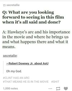 I think A LOT of people missed the importance of Hawkeye- and the intense meaning behind that part of the movie. Marvel Films, Marvel Dc Comics, Super Secret, Avengers Age, Clint Barton, Age Of Ultron, Geek Out, Hawkeye, Hilarious