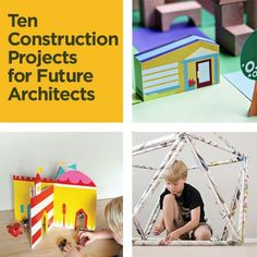 """STEM 10 Incredible Construction Projects for Future Architects- We actually did the shape in the """"kids in architecture"""" class that I taught at Tech. Craft Activities For Kids, Summer Activities, Learning Activities, Kids Learning, Crafts For Kids, Craft Ideas, School Projects, Projects For Kids, Summer Reading Program"""