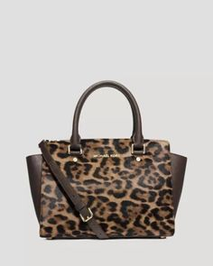 3ecd73016f03f Michael kors selma brown leather leopard haircalf purse bag satchel new
