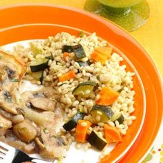Vegetable and Barley Pilaf goes with Pork Chops and Mushroom Tarragon Sauce (recipes to try board)