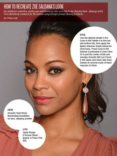 DIY Beauty: Zoe Saldana    Makeup may not give you Zoe Saldana's enigmatic smile, but you can follow her makeup artist's step-by-step guide to get her smoky eyes and glowing skin.