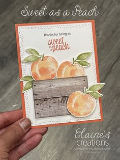 Learn how to make this cute card with Stampin' Up!'s Sweet as a Peach stamp set and Peach Dies in this video tutorial! Fun Fold Cards, Cute Cards, Sweet Peach, Just Peachy, All Paper, Stamping Up, Crates, Card Making, Paper Crafts