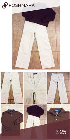 Ralph Lauren 2PC Lot Pre-loved Ralph Lauren 2PC Lot ~ Pants are a size 8 ~ Made of 100% Cotton, waist is NOT adjustable ~ Shirt is a size 7 ~ Brown color ~ Made of 100% Cotton ~ Both are in excellent condition Ralph Lauren Matching Sets