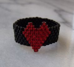Simply SEED BEADs Ring Valentine's Heart by KweenBee on Etsy, $5.00