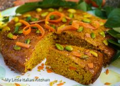 Pistachios, plenty of juicy carrots, a touch of lemon zest and some brown sugar and wow. I have created one of my favourite fat free cakes ever! Pistachio Cake, Sifted Flour, Baking Tins, Mediterranean Recipes, Oven Baked, Healthy Desserts, Italian Recipes, Brown Sugar, Carrots
