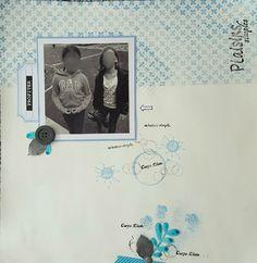 page scrap - Sketch combo, bleu bouton masking tape flèches ronds contraintes