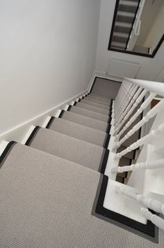 jillian banking Mexico Two-tone wool carpet bound as stair runner Staircase Carpet Runner, Carpet Stairs, Wool Carpet, Rugs On Carpet, Entry Stairs, Stair Landing, 1930s House, Home Repairs, Staircase Design