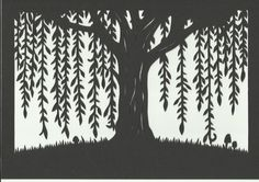 Woodland Willow Tree Silhouette Scene - art print of original handmade papercut Art Print