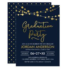 Blue Faux Gold Strings of Lights Graduation Party Invitation by Rosewood and Citrus on Zazzle