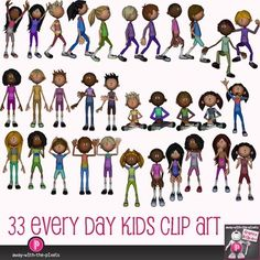 Multicultral Kids Clip Art - Casual Actions 33 Color, 33 Black and white. Every day kids in every day actions.