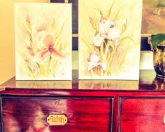 Botanical water colour prints, sold as a pair to a Friend
