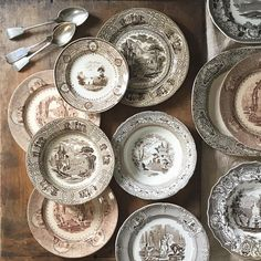 """980 Likes, 73 Comments - Jesse Lauzon (@jesselauzon) on Instagram: """"All of the brown transferware, please. The older, the better. In every shape and every shade, step…"""""""