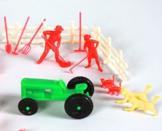 $15.00 Vintage Plastic Farm Pieces include Farmers Tractor Tools Fencing Horses Pigs Sheep Ducks & more, even cats and rabbits by LittleShopofWhatNots on Etsy