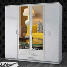 The White London Large High Door Wardrobe combines all your bedroom storage into one beautiful unit – it has hanging rails, lots of shelves and drawers too, plus two centre mirror. Wardrobe Sale, 4 Door Wardrobe, White Wardrobe, Sliding Wardrobe, Huge Sale, Hanging Rail, Bedroom Storage, Sliding Doors, Wardrobes