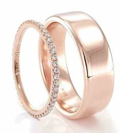 Trendy Diamond Rings : Feminine and masculine… Both refined in their own way His & Hers Bands! Nice is ladies band would match well with engagement ring. Ladies Rose Gold Diamond Band designed by & Mens Rose Gold Band designed by Both from. Wedding Rings Simple, Wedding Rings Rose Gold, Trendy Wedding, Gold Diamond Band, Diamond Wedding Bands, Diamond Jewelry, Gold Bands, Matching Wedding Bands, Matching Rings