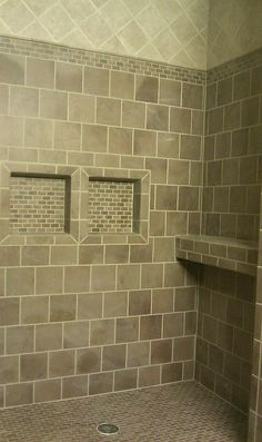Walk-in shower with ledge and niches