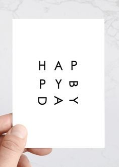 Simple Happy Birthday Greeting Card Minimal by TheSavvyHeart