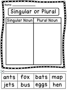 Sorting nouns as being singular nouns or plural nouns