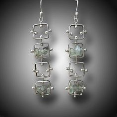 Sterling Silver Earrings  KINETIC Dangling EARRINGS by xaosart, $225.00
