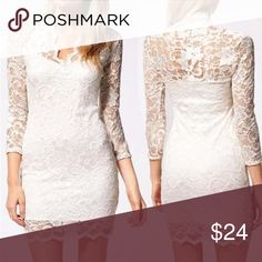 White Lace Overlay Bodycon DRESS Stretch BRAND NEW!! Beautiful Stretch Lace Bodycon Dress in White. Perfect for Holiday Parties, and this also looks great paired with leggings and boots.  🌟🌟Item is Brand New, direct from the Manufacturer, & Sealed in Pkg. 🌟🌟 Dresses